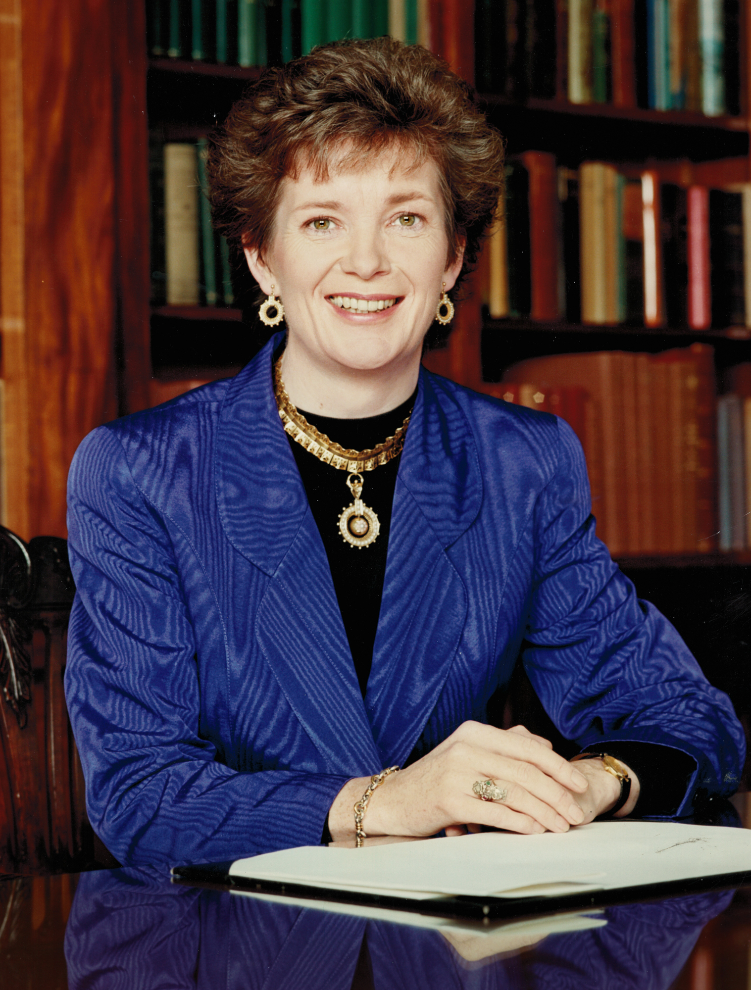 Official portrait of Mary Robinson, President of Ireland.