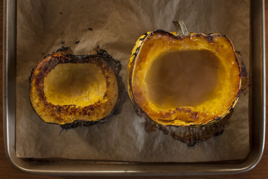 Once your squash is tender (you can use a fork, it should poke right through the shell) flip them over to cool.