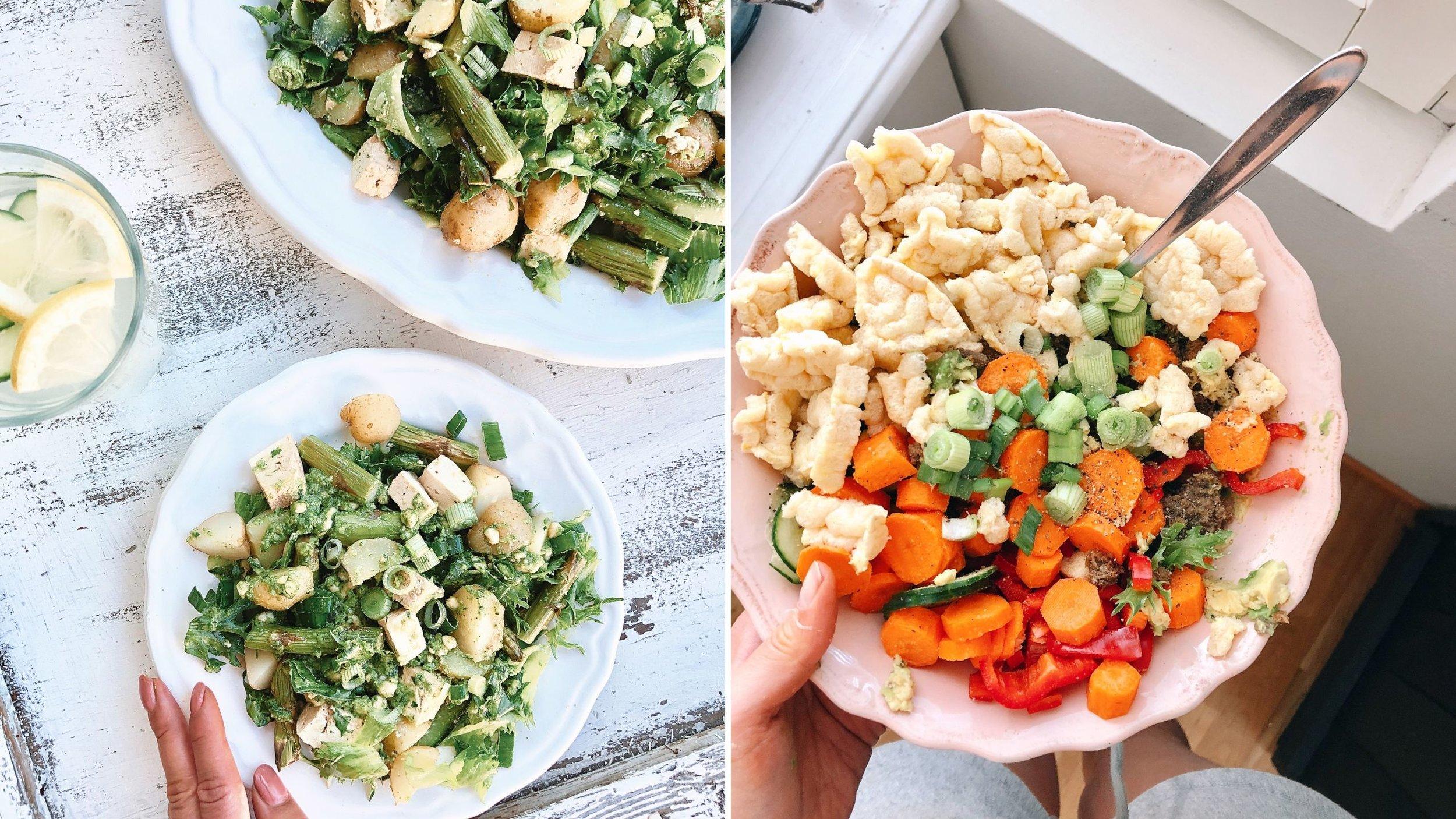Näin kesällä maistuvat raikkaat, ruokaisat salaatit. Pesto-parsa-peruna-salaattia sekä lounasbowl täynnä lempparirehuja. Mukana myös nyhtökauraa proteiininlähteenä, linssikakkuja, joista saa kivasti hiilareita sekä proteiinia sekä rasvanlähteenä avokadoa.