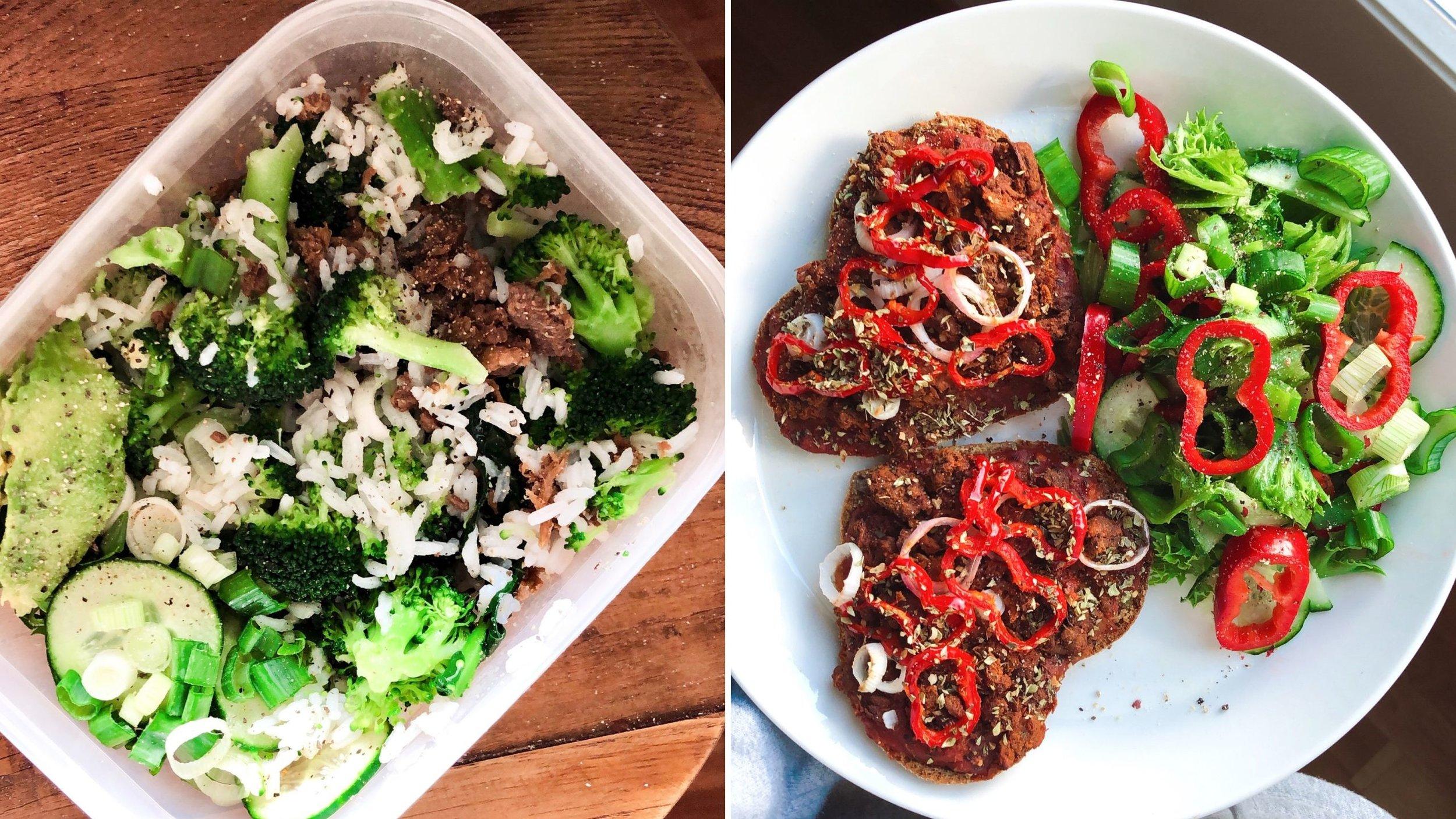 Meikäläisen peruslounasta (protskuna nyhtökaura, hiilihydraatinlähteenä riisi, rasvat taas avokadosta sekä kasviksina kurkkua, salaattia, parsakaalia ja kevätsipulia) sekä lämpimiä leipäpizzoja!