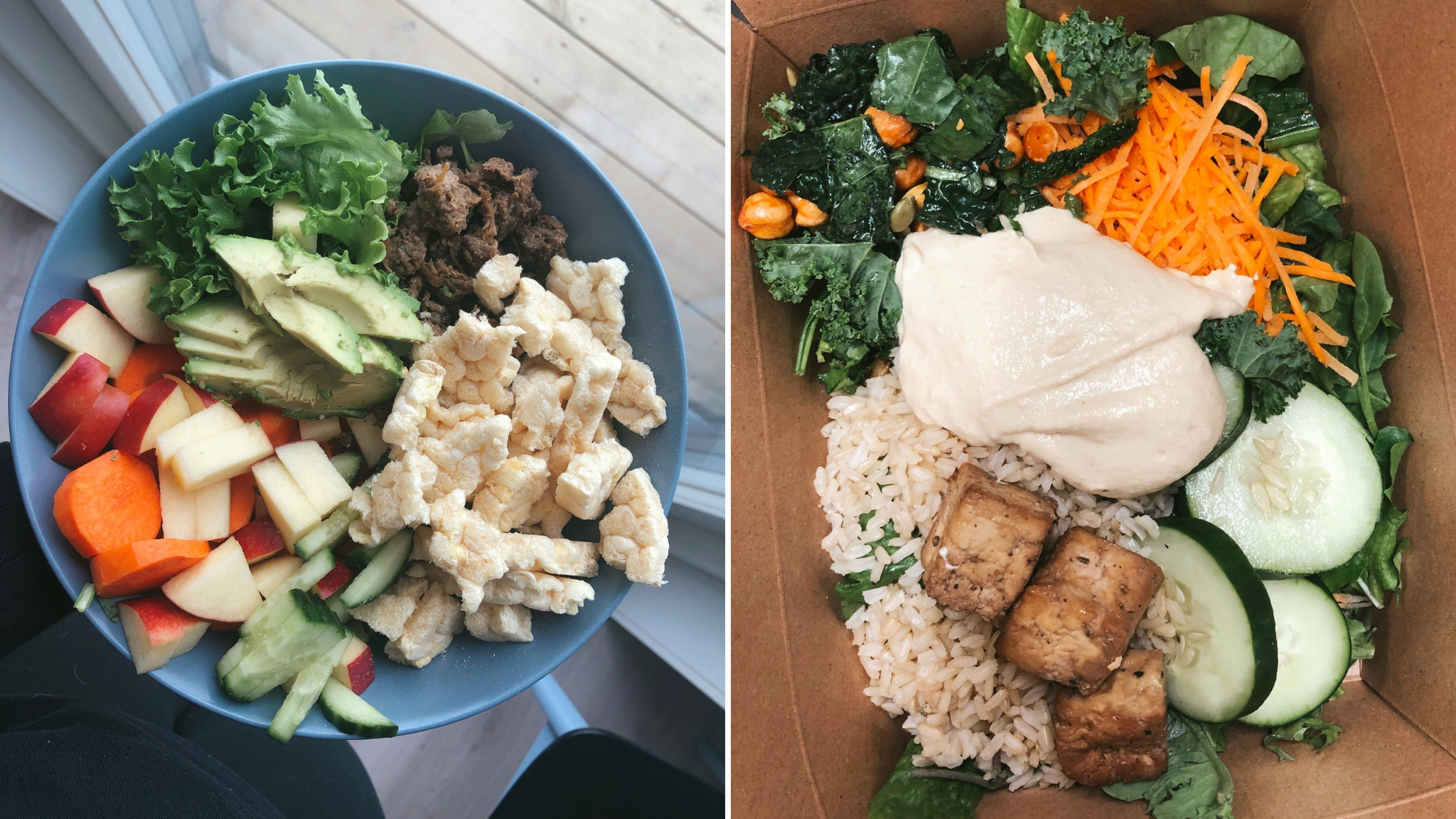 Runsaasti liikkuvan kannattaa huomioida, että lautaselta löytyisi aina jokin hiilihydraatin lähde, laadukasta kasviperäistä proteiinia, hyviä kasvirasvoja sekä reilusti kasviksia. Vasemmalla kulhossa linssikakkuja, nyhtökauraa, avokadoa, omenaa, porkkanaa, kurkkua sekä salaattia. Oikealla Jenkkireissulta Whole Foodsista kasattu annos: tummaa riisiä, tofua, paahdettua kikherne-lehtikaalisalaattia, vihreitä kasviksia, porkkanaa sekä hummusta.