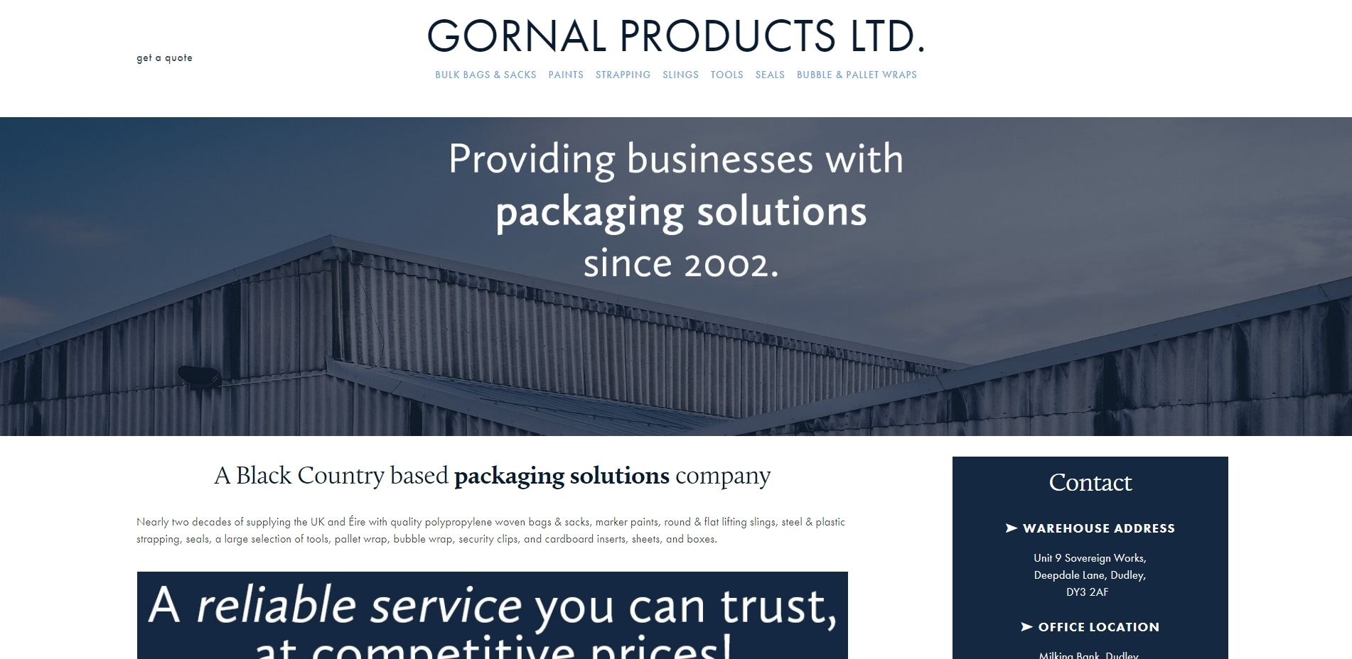 Gornal Products - packaging and transport solutions company website