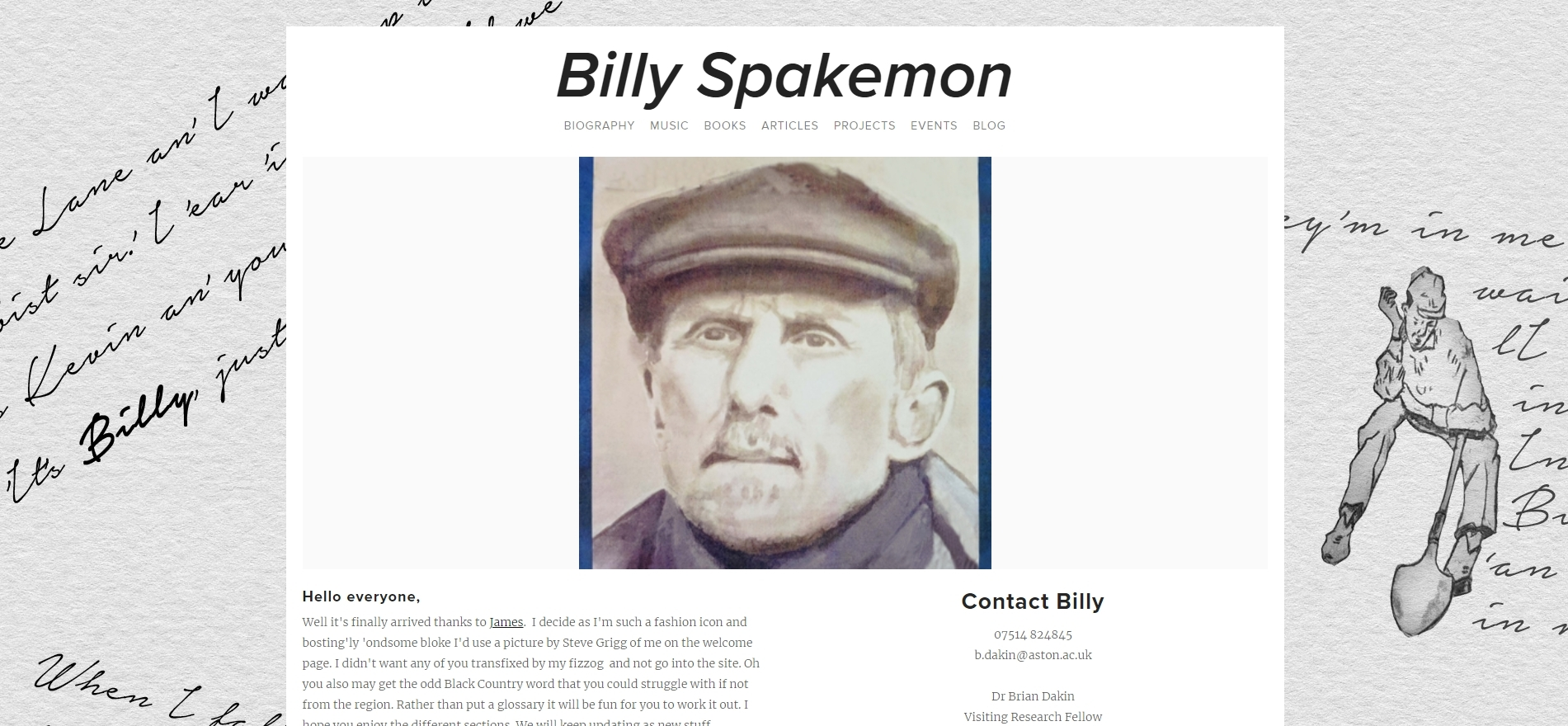 Billy Spakemon - Author, singer-songwriter portfolio website