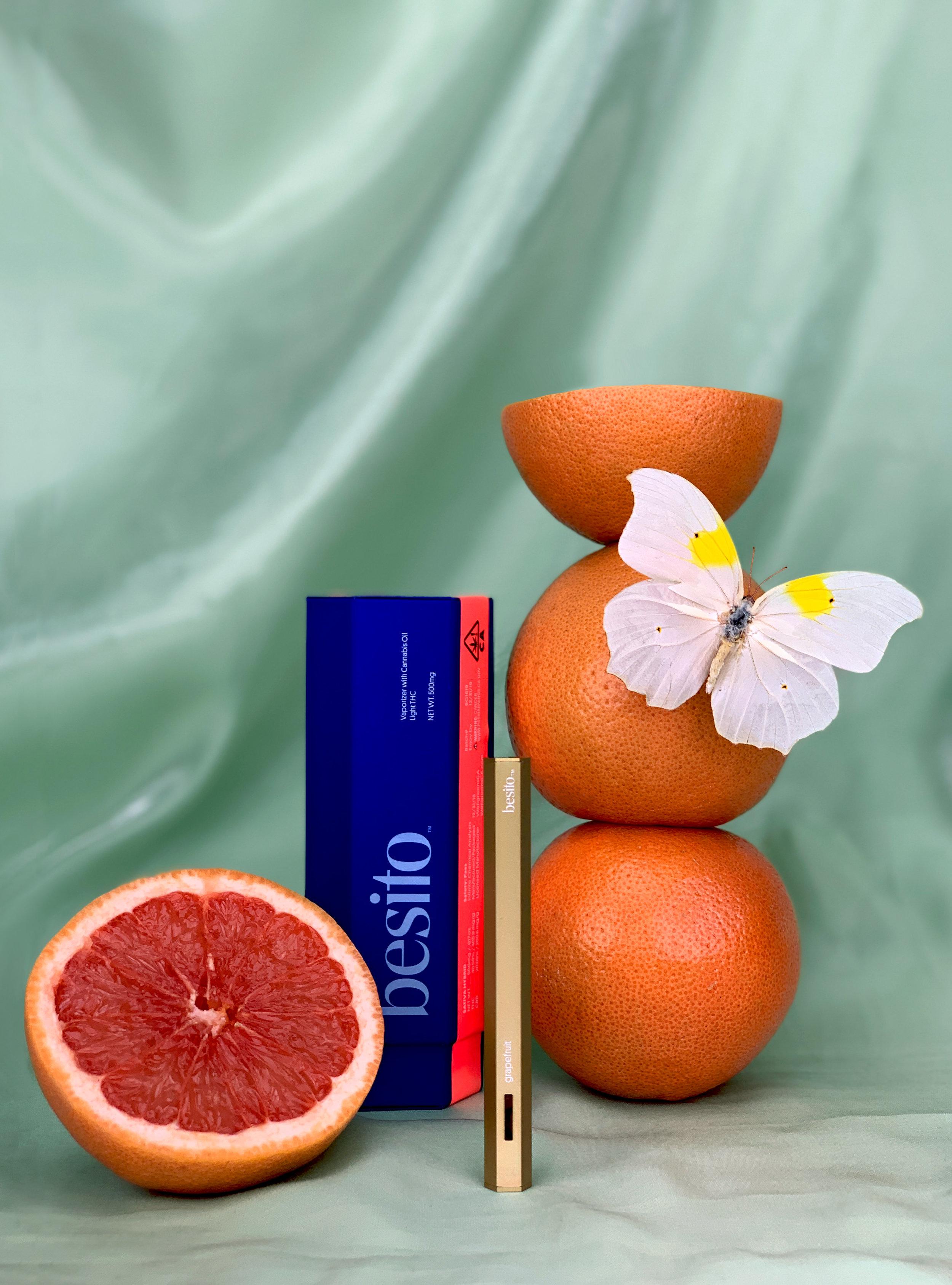 Besito's hexagonal vape pen comes in three, sativa-heavy flavors: grapefruit, mint, and blackberry.