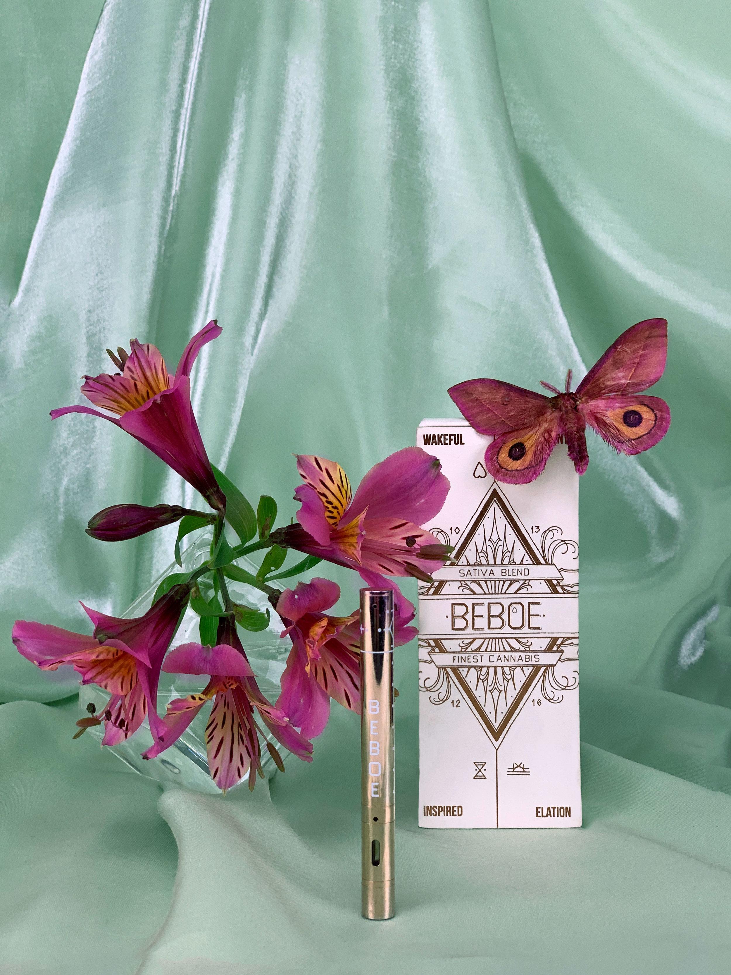 Beboe's rose gold, 'Inspired' vape pen offers a THC-heavy Sativa blend.
