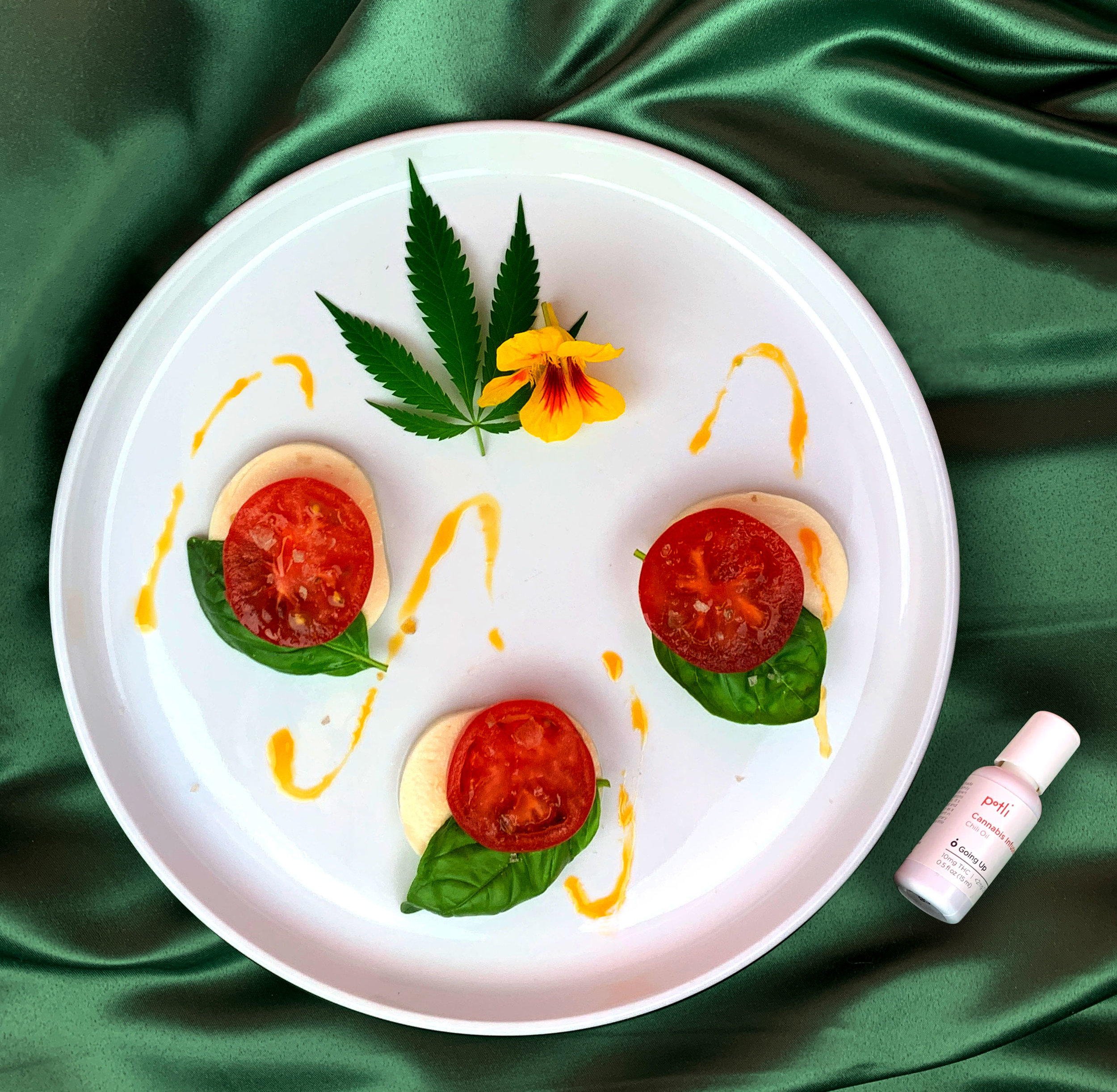 Potli cannabis-infused chili oil Caprese salad.