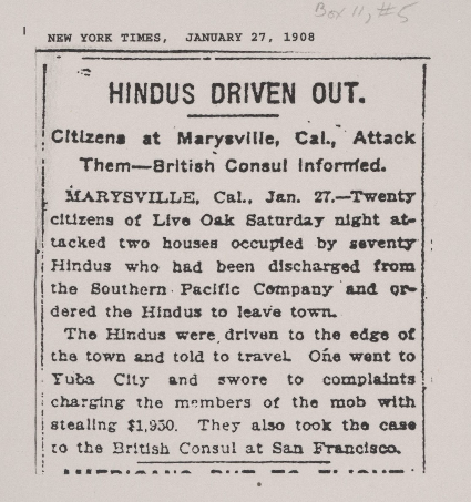New York Times, January 27, 1908 South Asians in North America Collection, Bancroft Library, UC Berkeley   Found on the UC Davis Pioneering Punjabis Digital Archive