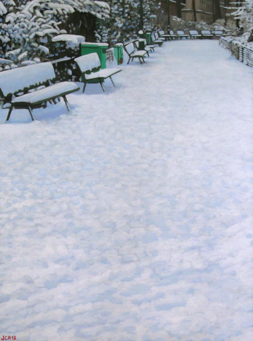 Square Maurice Gardette - Paris 11th Arrondissement. Painting by Jean-Christophe Adenis