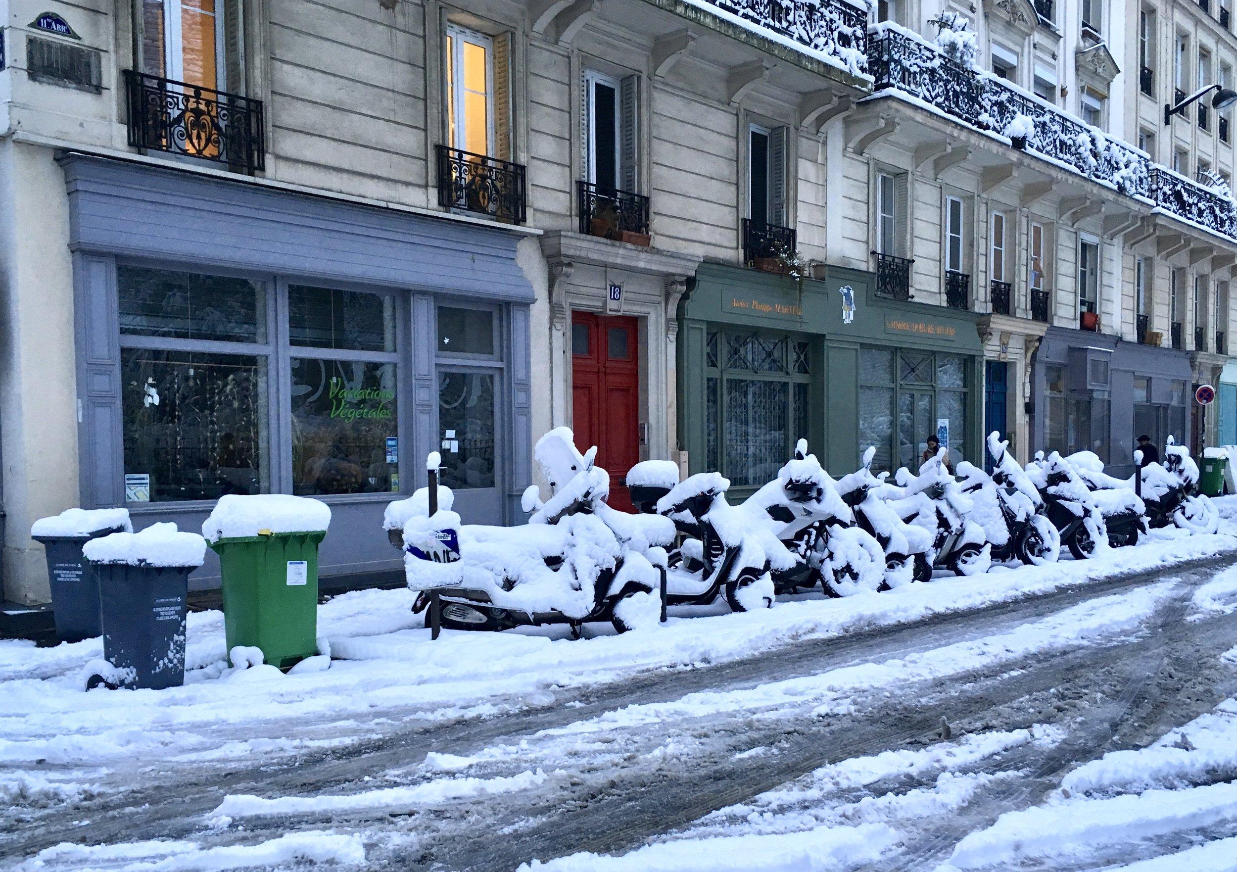 An unusual sight - snow in Paris.