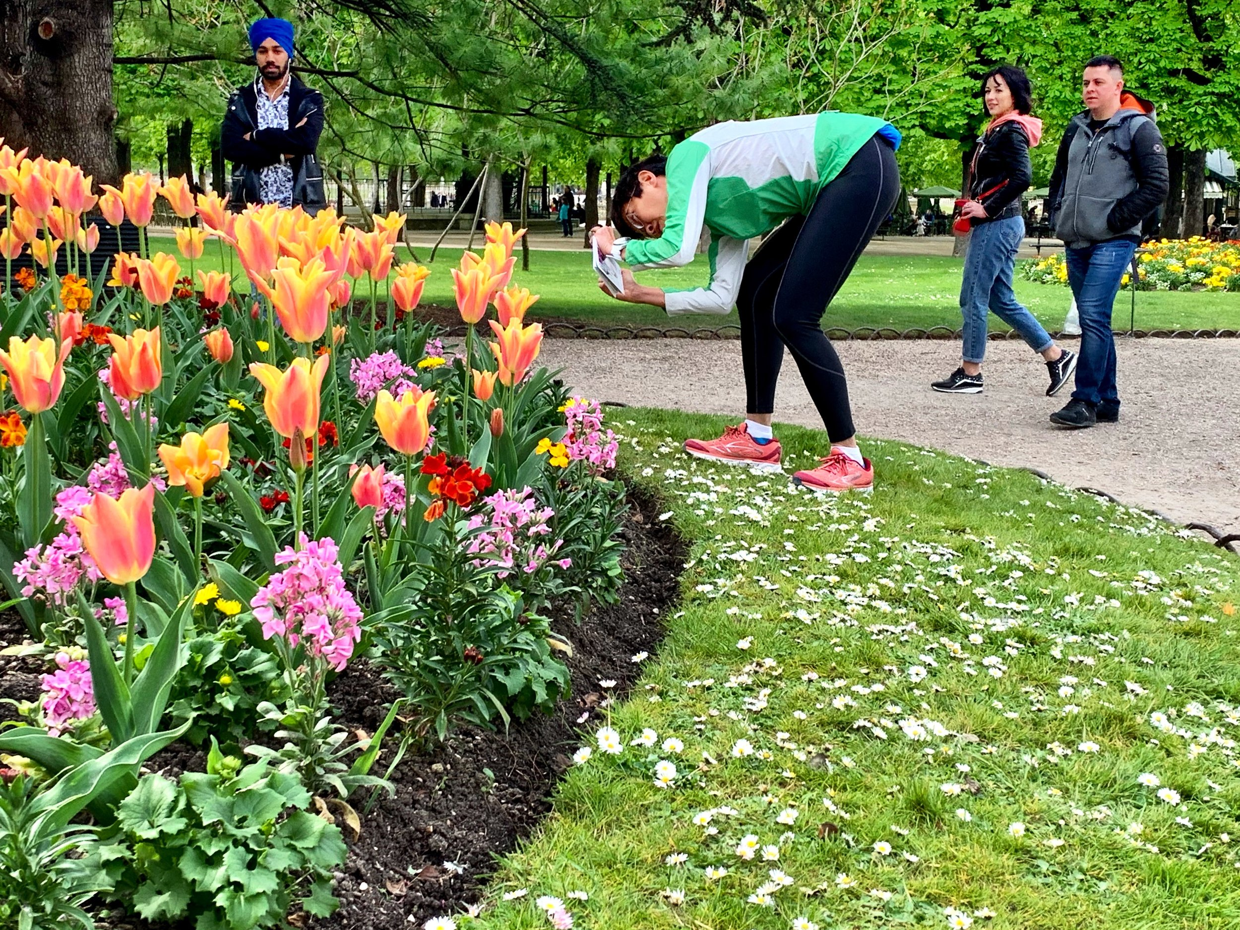 Tulips, and tourists at the Luxembourg Gardens