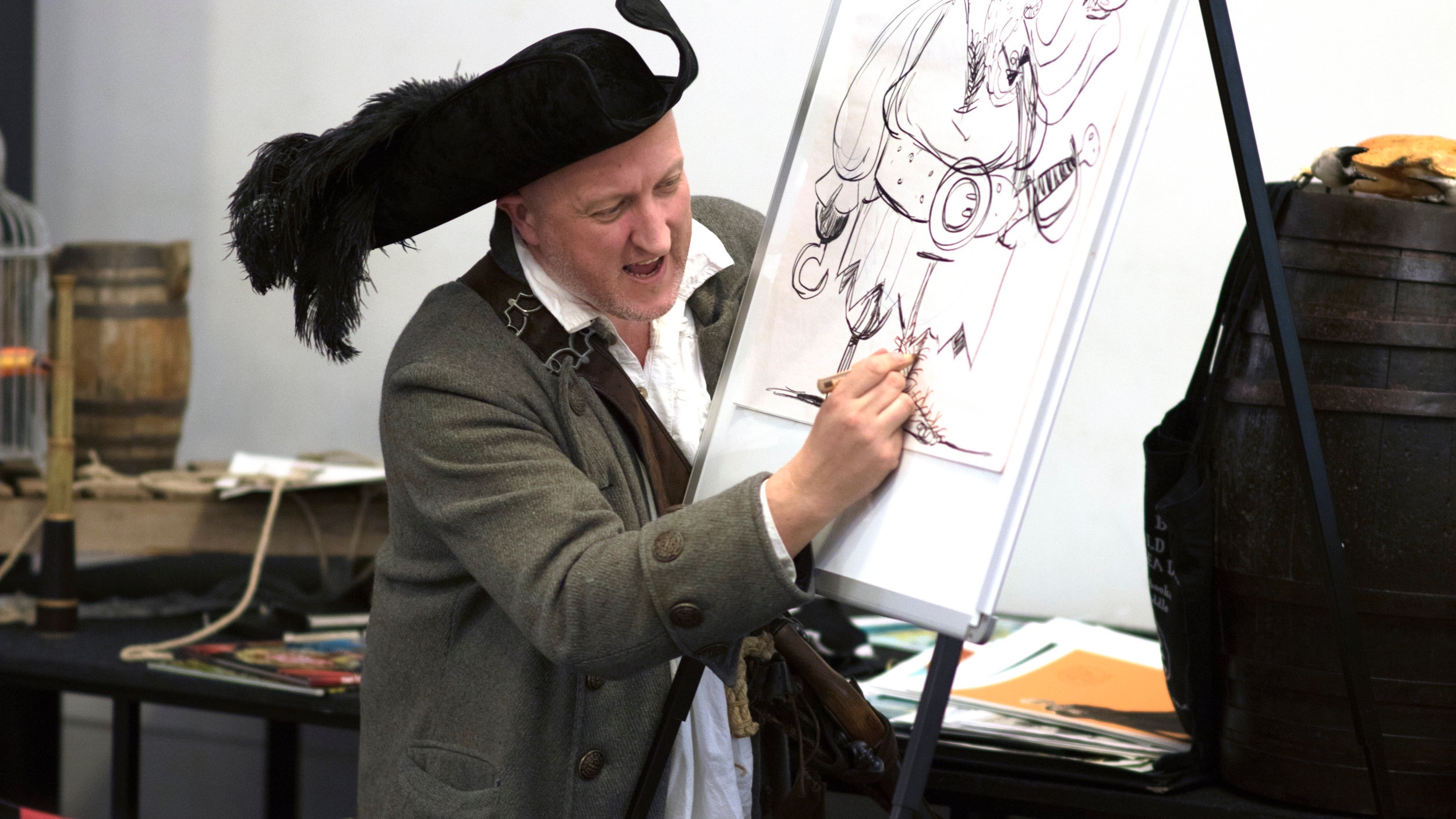 Johnny+Doddle+illustrates+at+Waterstones+The+Pirate+Cruncher.jpg