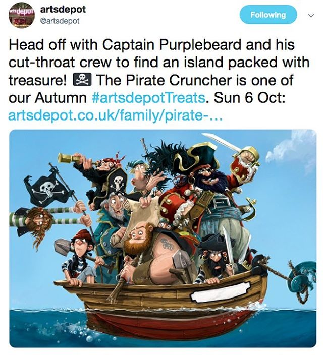 'I was sailing one day and what did I see?  An island of Gold in the scurvy sea!  The Pirate Cruncher is one of #artsdepottreats this Autumn and We. Can't. WAIT!!! https://www.artsdepot.co.uk/family/pirate-cruncher