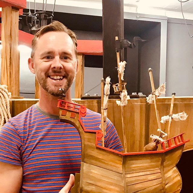 Lights, sound and grog going brilliantly in tech with #thepiratecruncher ! Check out this brilliant model of #johnnyduddle 's ship the black hole, made by First mate #Davidspencestagedesign