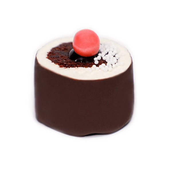 Chocolate Vanilla - Chocolate Cake, Ganache Filled, Rolled in Vanilla Butter Cream Frosting