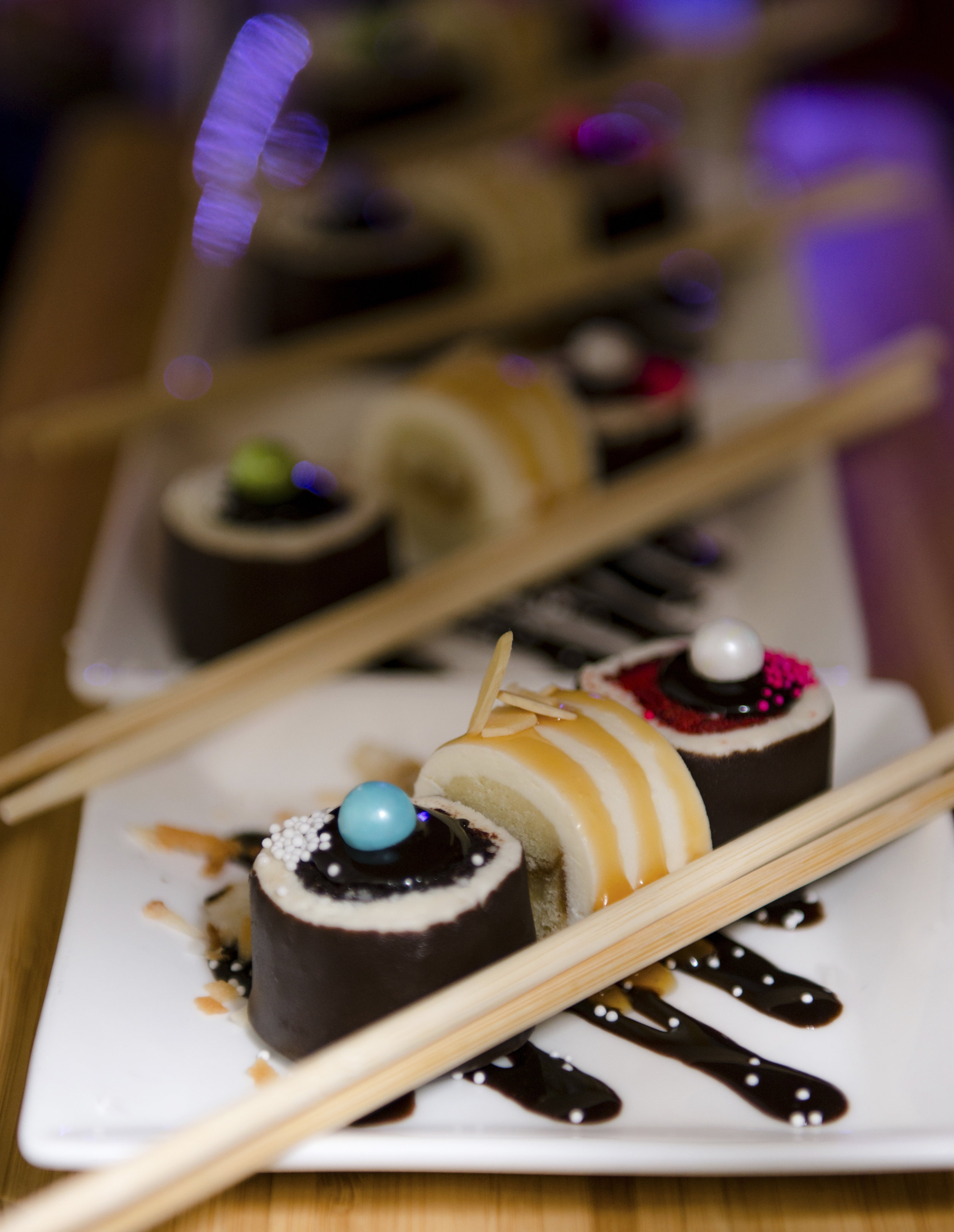 cupcake sushi displayed at wedding and event, book us for your next event today