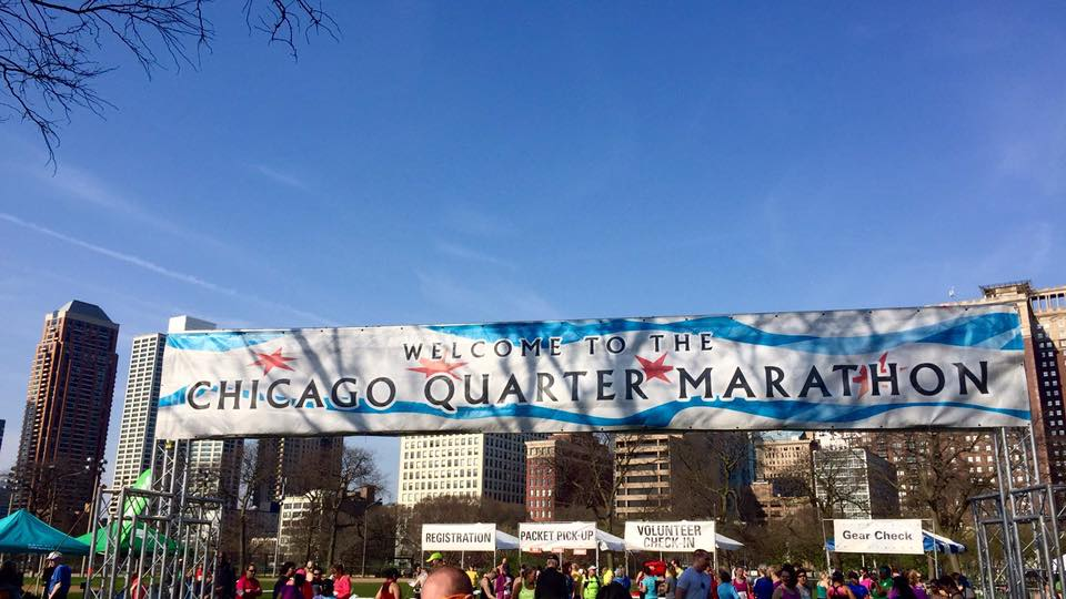 Photo: Chicago Quarter Marathon sign welcoming runners to the event on April 15, 2017. ( Emily M. Wallace )