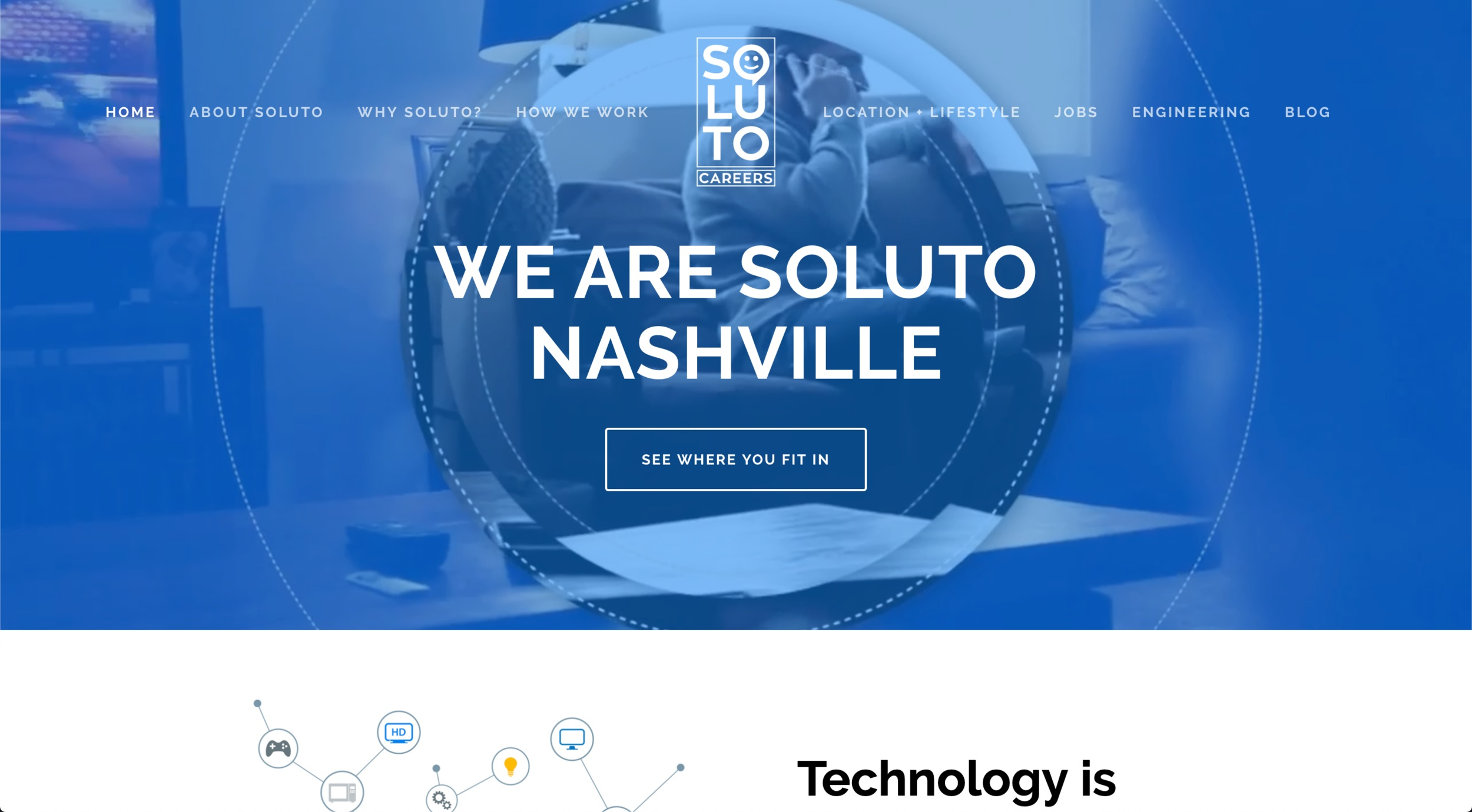 solutonashville.com - SS Site design and layout. Logo design. After Effects video customization.