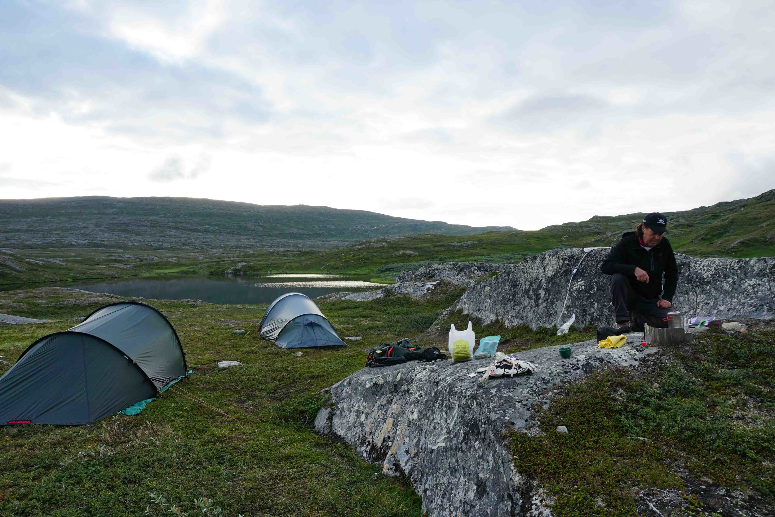 The Hilleberg Anjan tent on the left was a great addition to my gear, literally bomb proof.
