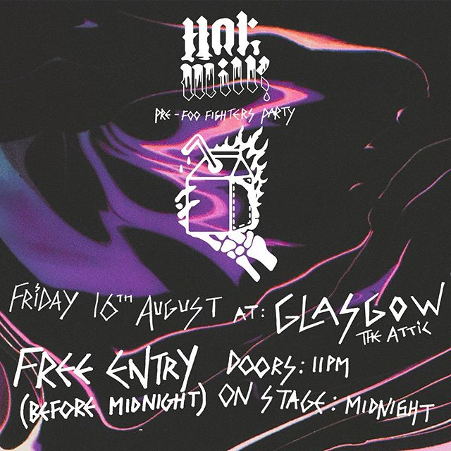 🏴 SCOT MILK? Glasgow are you ready spaghetti coz we're gonna come and do a Hot Milk party before we support @foofighters in your city. FREE ENTRY BEFORE MIDNIGHT. 18+!!! WHEN THE CLOCK STRIKES 12 WE WILL DO THE SWEAT WITH YOU.  p.s we're playing some new songs too alright so just bloody deal with it.