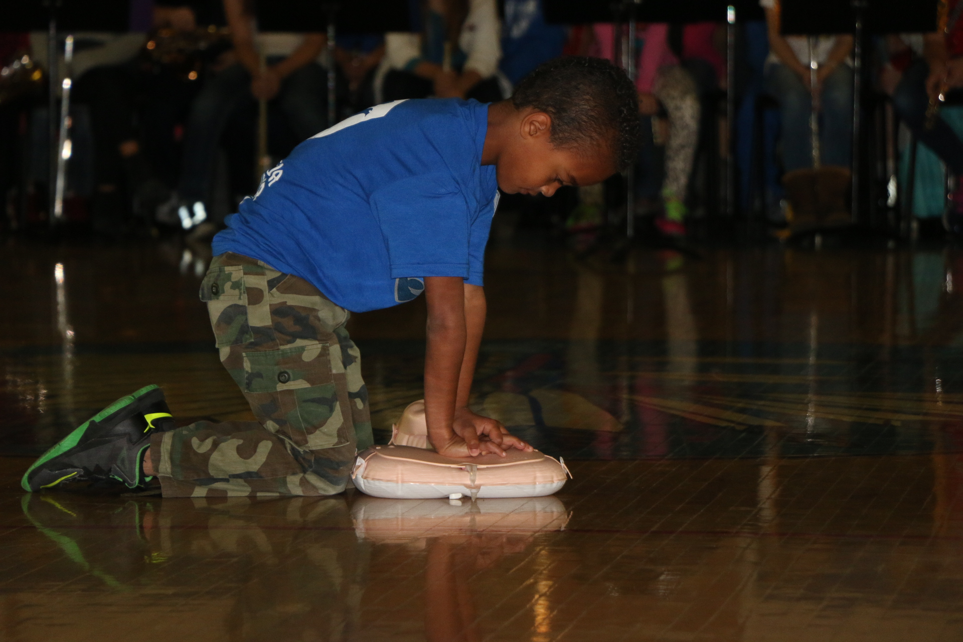 "Jaiden teaching others Hand CPR - At the age of 7, Jaiden wanted to take what he learned while attending a military event and share it during a Veteran's Day Assembly. His mother Kimberly McGraw was presenting to the students and faculty at Aux Sable Middle School with military veterans being honored in the community. Jaiden wanted to inspire others that any kid, any age can learn a new skill and teach it to others. He understood the limited time others have when in an emergency and the importance of knowing how to give CPR to save someone's life. So he told his mother, ""Someone could be saved if they knew this, so let's teach them"". Jaiden might be little but has a huge heart for motivating others through words and actions!"