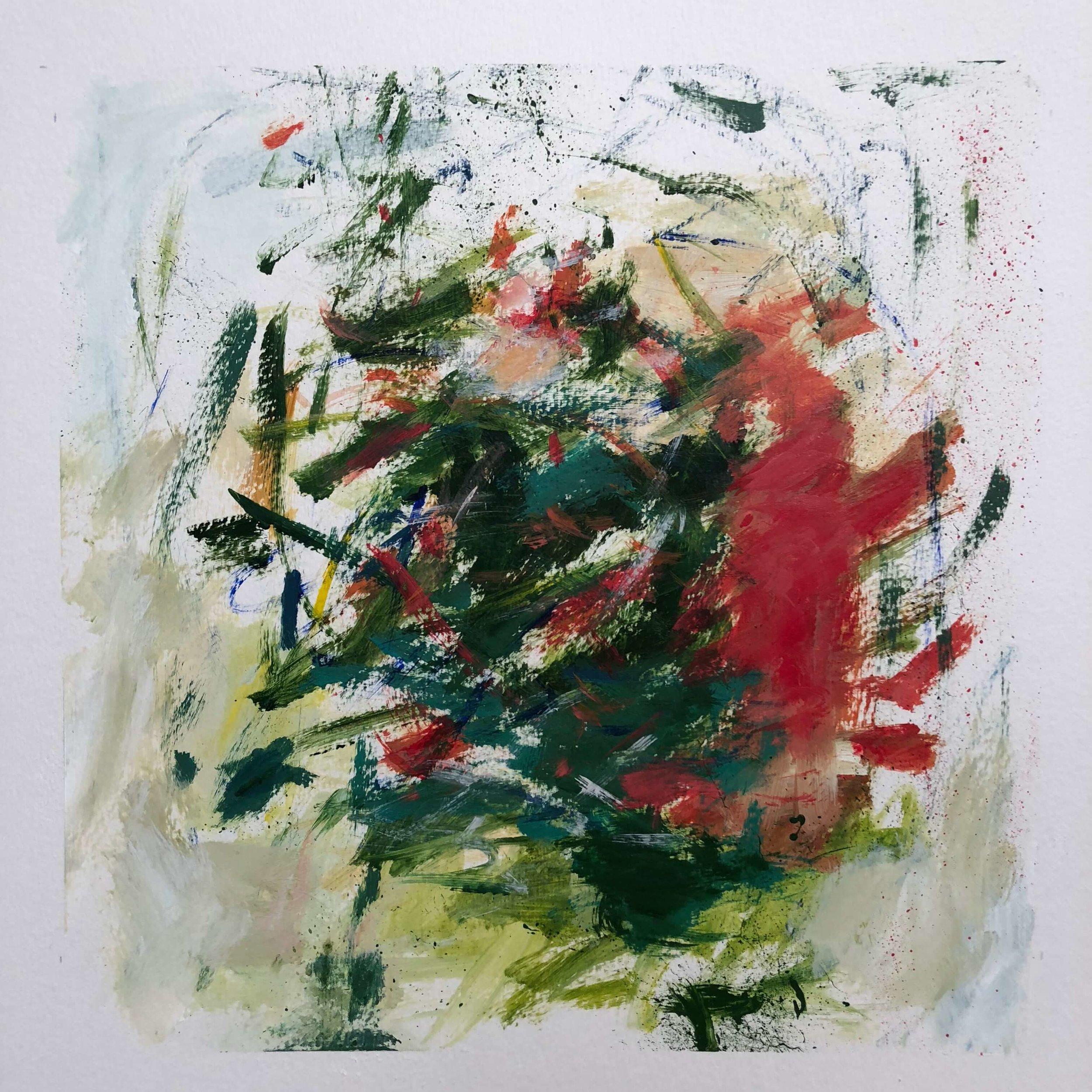 "Wild Rhubarb   12"" x 12""  acrylic on paper"