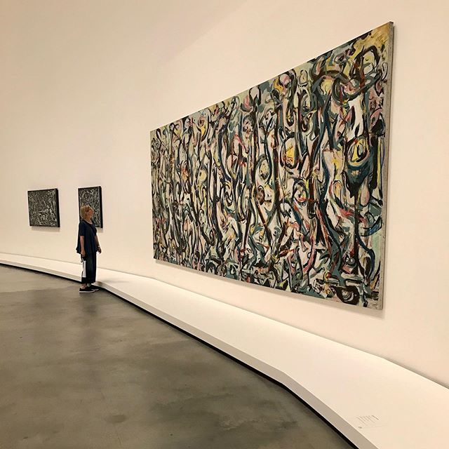 """How did I get here? It was a long journey. If you haven't seen it, the documentary """"Jackson Pollock's Mural: The Story of a Modern Masterpiece"""" is well worth it. """"Mural"""" has made quite the  journey as well. (Photo is from the Abstract Expressionism exhibit in 2017) . . . . . . #abstractart #contemporarypainting  #contemporaryart #contemporaryartist #modernart #paintingart #abstractpainting #abstractexpressionism #kunstwerk #museoguggenheimbilbao #abstractartist #loveart #artlover #portlandartist #expressiveart #todaysartreport #artistlife #artofstream #jacksonpollock #painter #artforlife #abstract_buff"""