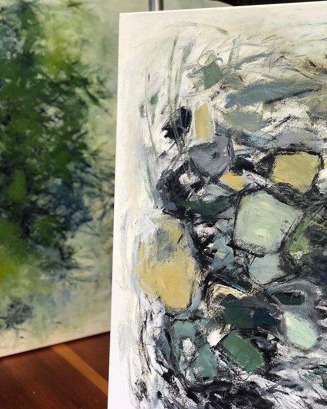 Works in studio, in and out of focus . . . . . . #abstractart #acrylicpainting #pdx #pdxart #contemporarypainting  #contemporaryartist #modernart #paintingart #abstraktekunst #abstractpainting #abstractexpressionism #artlife #kunstwerk #fineart #abstractartist #emergingartist #pnwartist #portlandartist #expressiveart #todaysartreport #artistlife #artofstream #joanmitchell #artforlife #abstract_buff #womenartists #collectart #artoninstagram #artiststudio #womanartist