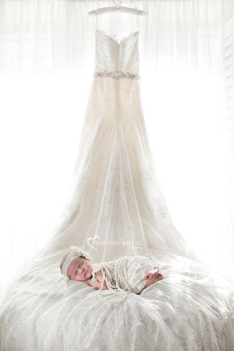 Newborn baby girl with Mom's wedding dress - Heartprint Images - Orange County, California custom maternity and newborn photography.jpg