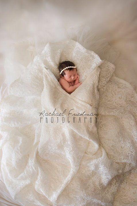 Newborn baby in Mom's wedding dress @raefriedmanphoto - #baby #dress #Mom39s #Newborn #raefriedmanphoto #wedding.jpg