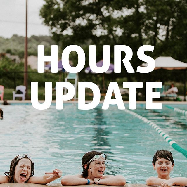 Hey everyone! We are adjusting our hours this Saturday (only). The front desk will be open 8am-8pm and the pool 2pm-8pm. Thank you for your understanding.