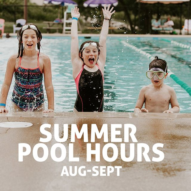 Hey Members and guests! With school back in session it's time for us to revert to our late summer outdoor pool schedule. Indoor pool hours will remain the same. Monday-Thursday: Closed  Friday: 12pm-6pm Saturday: 10am-6pm (staying the same) Sunday: 1pm-6pm (staying the same)