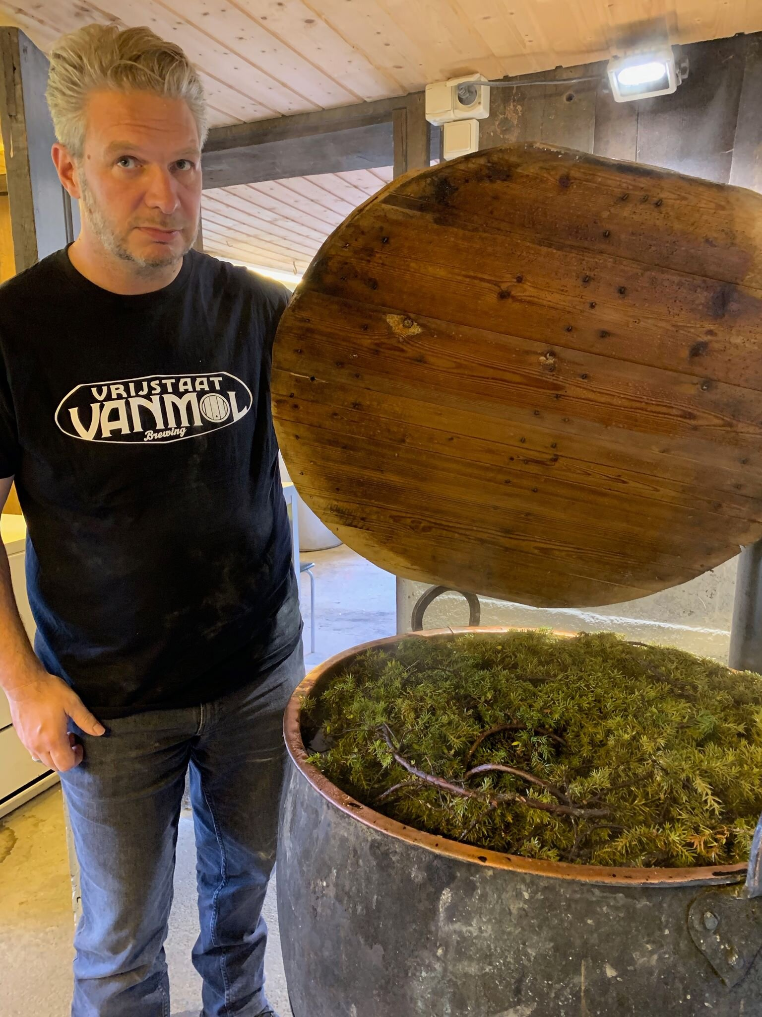 Making juniper infusion -