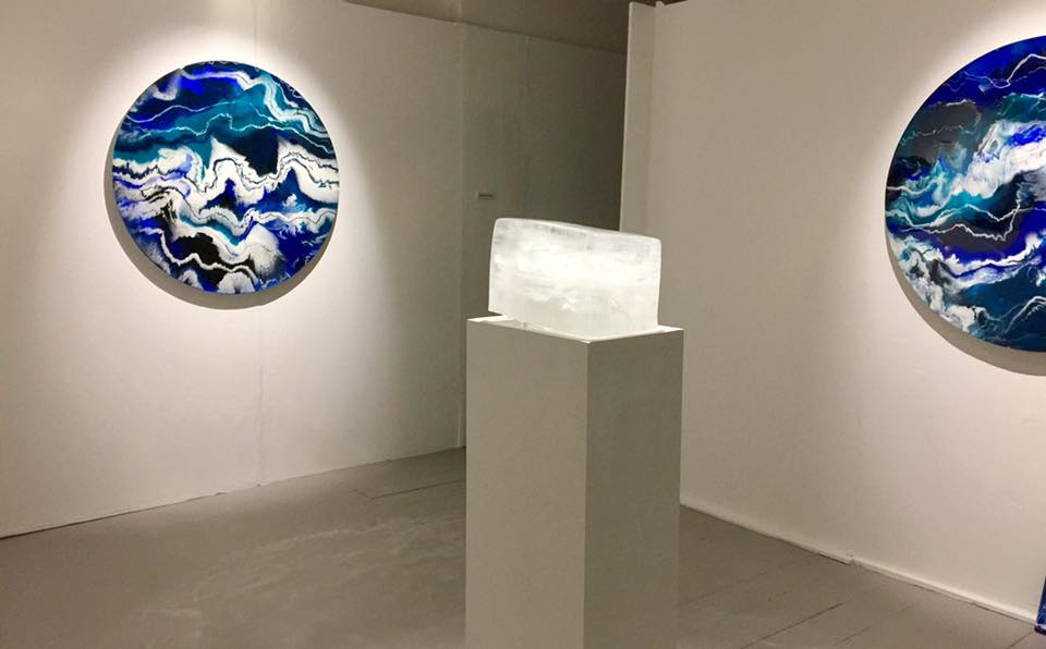 Degree show with ice piece