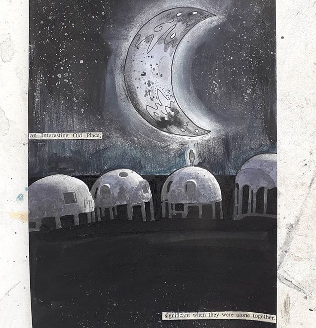 Repurposed exhibition flyer with additional text and moon 🌜 . . . . . . . #artstudio #exhibitionleaflet #recyclingpaper #reducereuserecycle #newlynartgallery #spaceman #lunarbeauty #oldplace #otherworlds #mixedmediaart #artistincornwall #cornishart #landscapeartist #lunarlandscape @simonfaithfull film at Newlyn