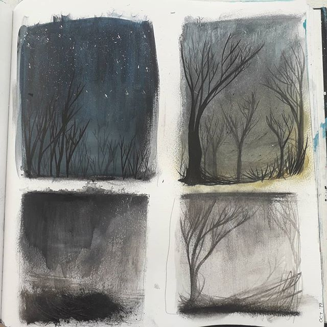 Sketchbook ponderings; wintery trees, woodlands, starry skies and downpours, passing time until the house is filled with noise again . . . . . #inkdrawing #sketchbookwork #woodlanddrawing #woodlandpainting #thumbnailart #sketchbookart #starryskyart #abovethetrees #studiowork #studioart #conciousnessshift #autumnaldays #winterydays #cornwallliving #cornishlife #artistincornwall