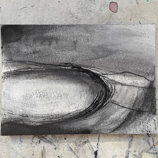 Little Lanyons Landscape . . . . . #postcardart #monochromeart #stivesart #towardszennor #penwithart #outwest #remotelandscape #landscapeartist #artincornwall #cornwallartist #inkart #charcoalart #pastelart #acrylicart #studioartwork #lanyonslandscape #peterlanyon #lanyoninspired