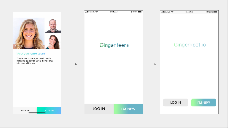 Ginger.io current design > First Iteration Wireframe > Second Iteration HIG Mockup