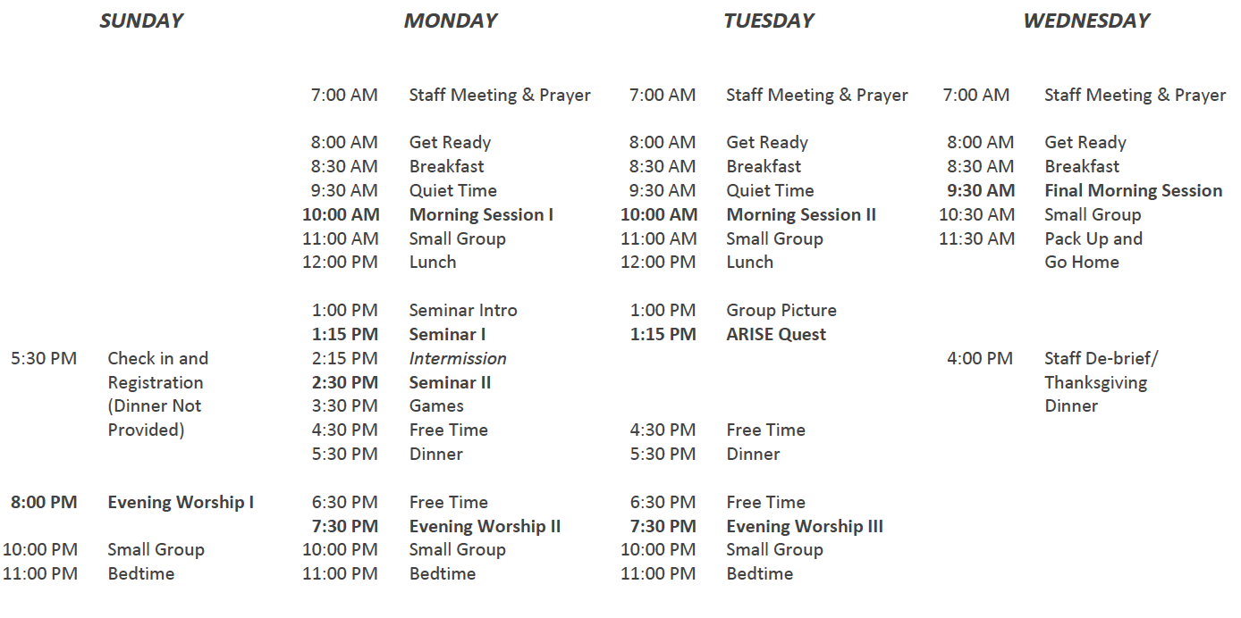 ARISE Summer Schedule.png
