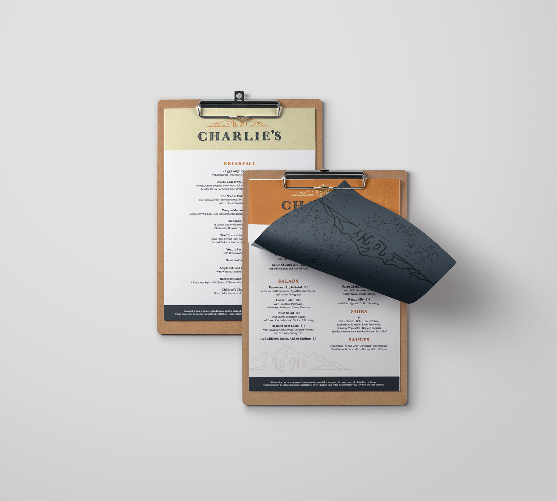 Menu Design - We carried the branding through a versatile menu design, which includes everything from Breakfast to Dinner and a little history about the family.