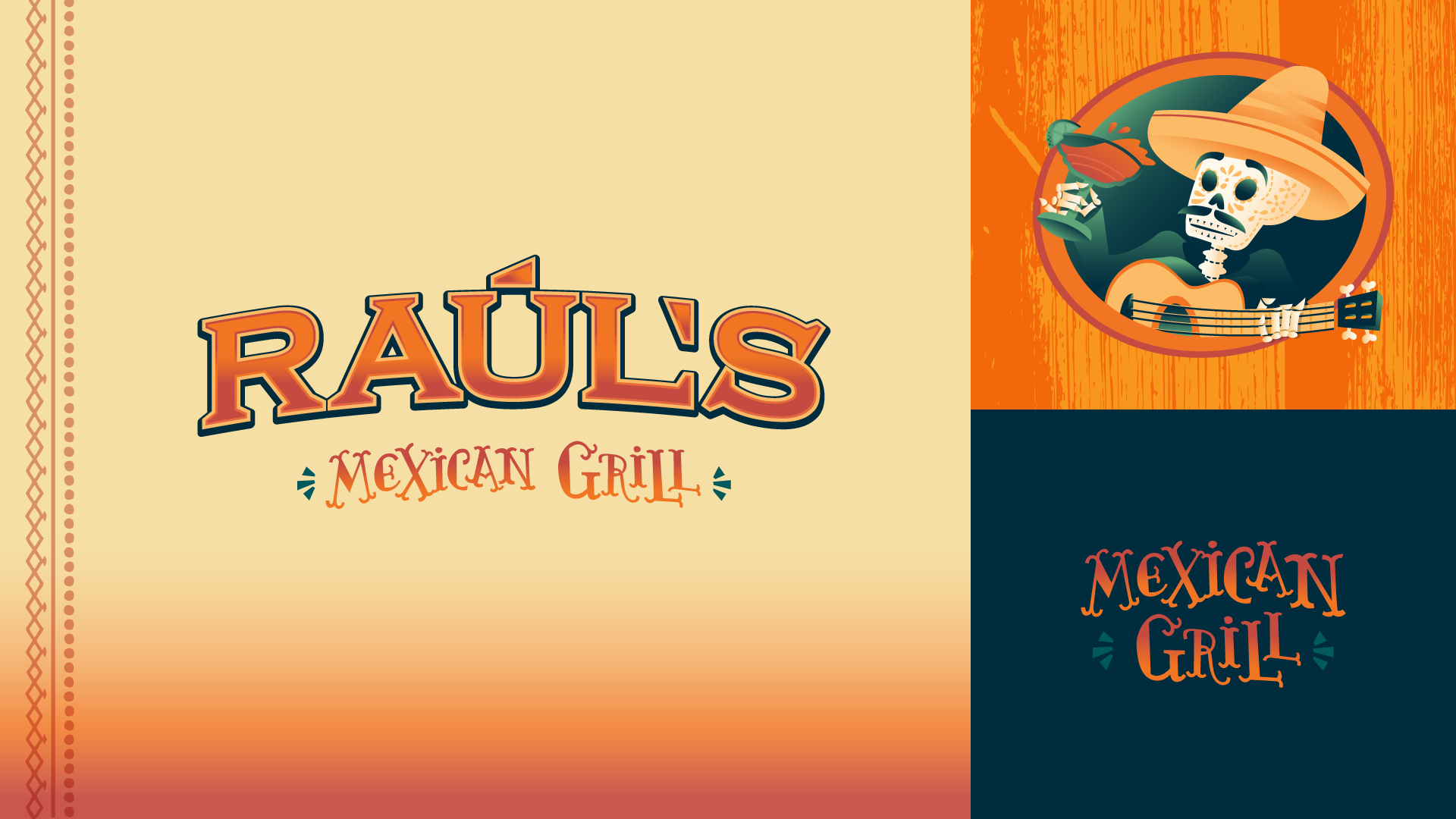 Branding - For Raúl's rebrand, we created a spicy gradient paired with a hand-craft MexiCali font and fun illustration.