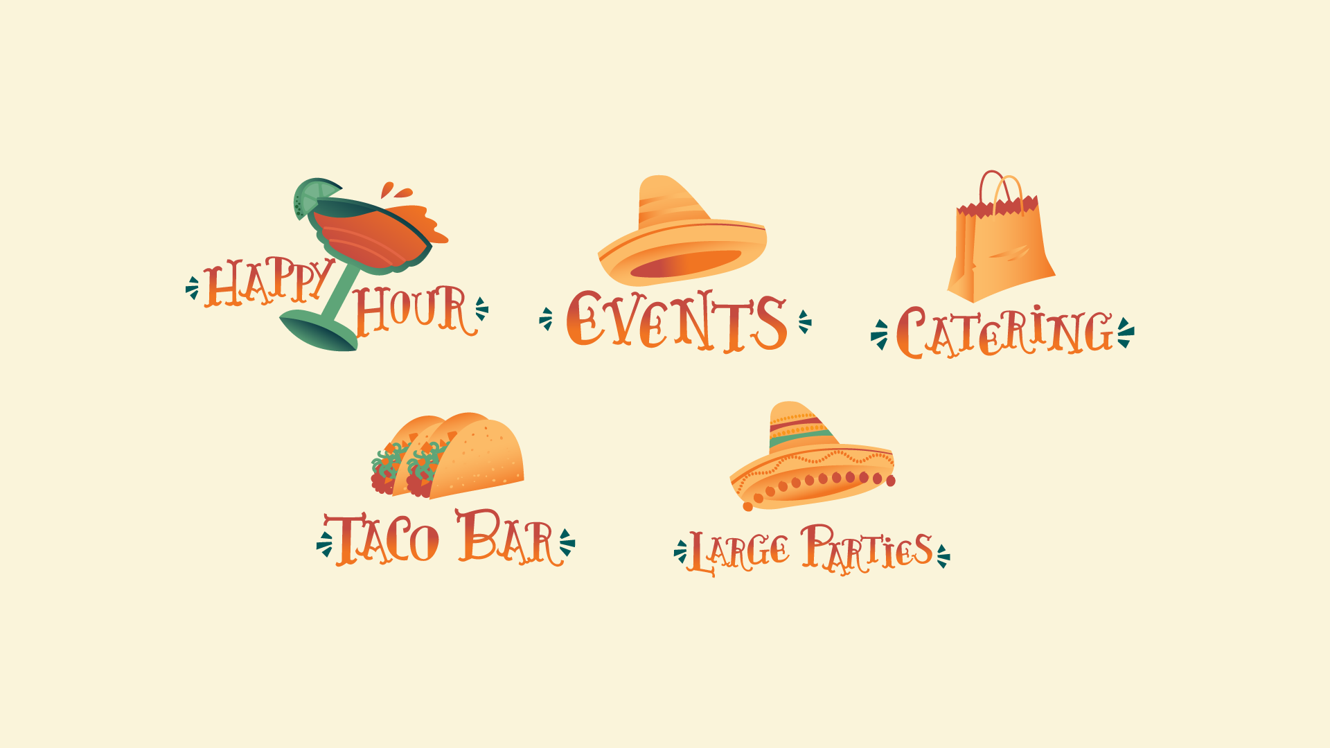 Icon Design - We also created a series of custom-illustrated icons for use on the menu and website.