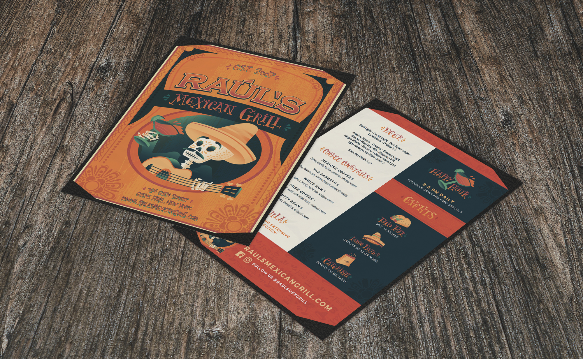 Menu Design - After completing the rebrand, we carried the custom type, illustration, iconography and color palette throughout the menu.