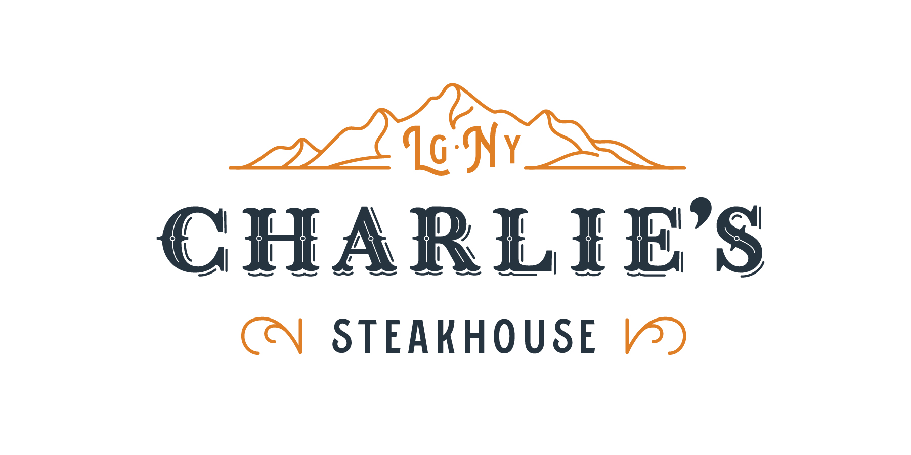 Branding - The logo features stylized mountains—which can be seen from the restaurant—and a traditional typeface with an Old West saloon vibe.