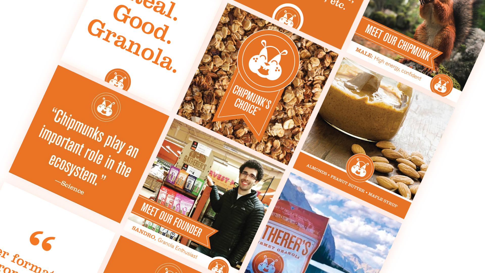 Real. Good. Granola.  - With orange as Gatherer's overarching brand color, we created various templates to showcase branded content. From employee profiles, quotes, and recipes, we created a bold look and feel for their various social media feeds.