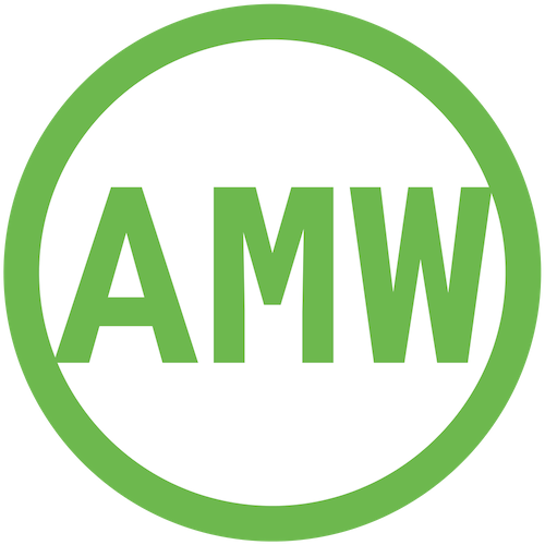"Image Description:  Green and White Vector (located directly above, in the footer, and in the address bar), depicting green capital letters ""AMW"" inside and touching the edges of a circle with a thick green outline, white filled inside. Created using Canva.com before being converted to a .PNG file format.  This logo is used as the Favicon [FAVE-EYE-con] in the website address bar or tab corner, and also as the logo in the footer of  amwwrites.com , linked to redirect to the homepage."