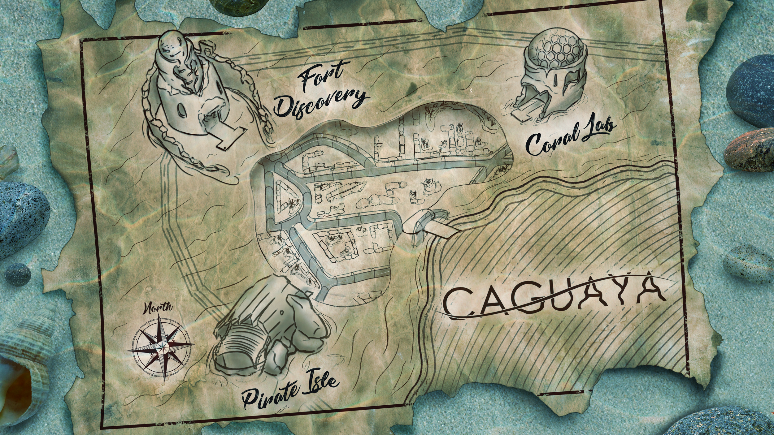 Themed map of Caguaya from our final presentation. © Disney