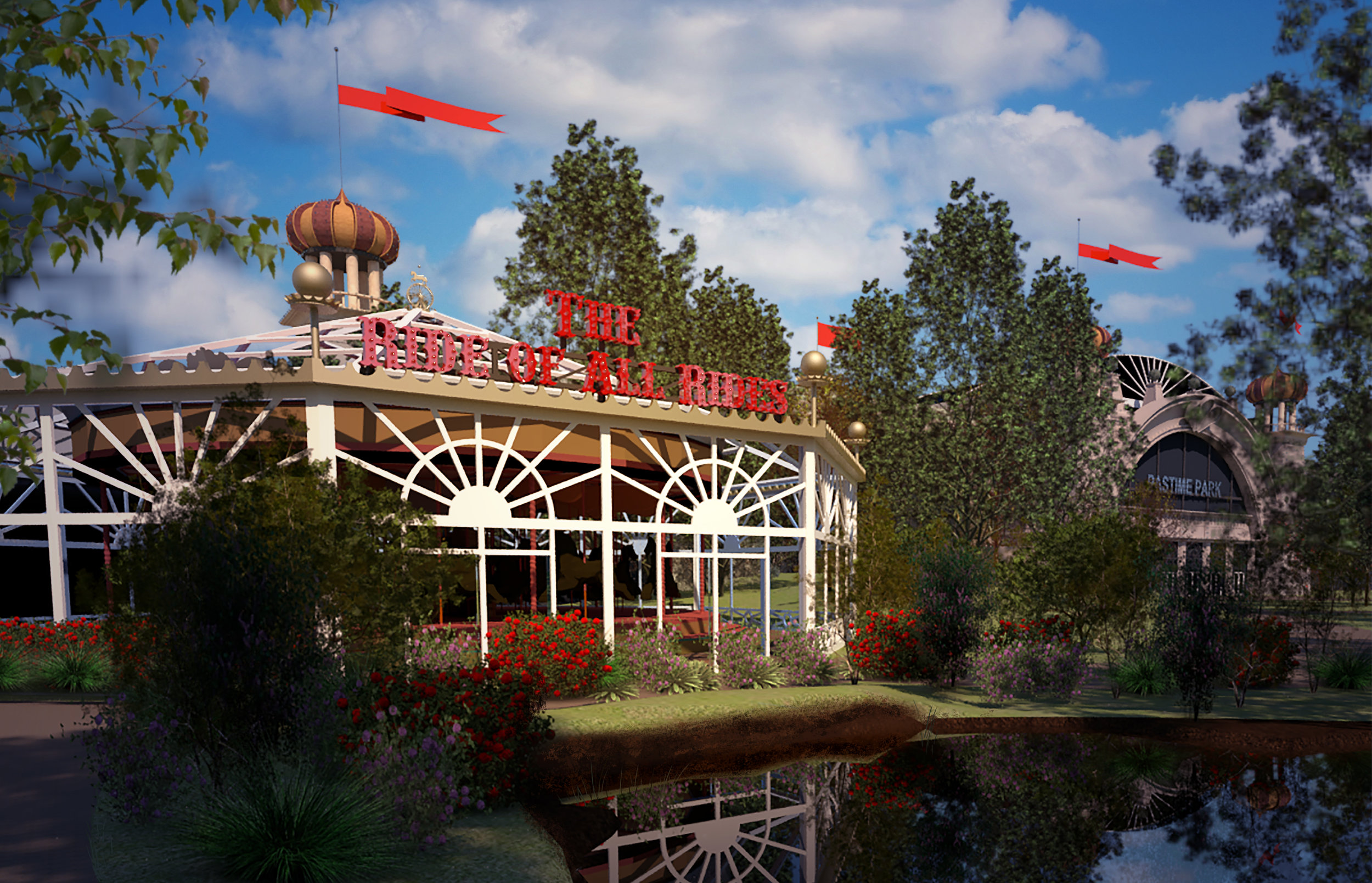 The Ride of All Rides Marquee, 2018.  Revit, VRay, and Photoshop.
