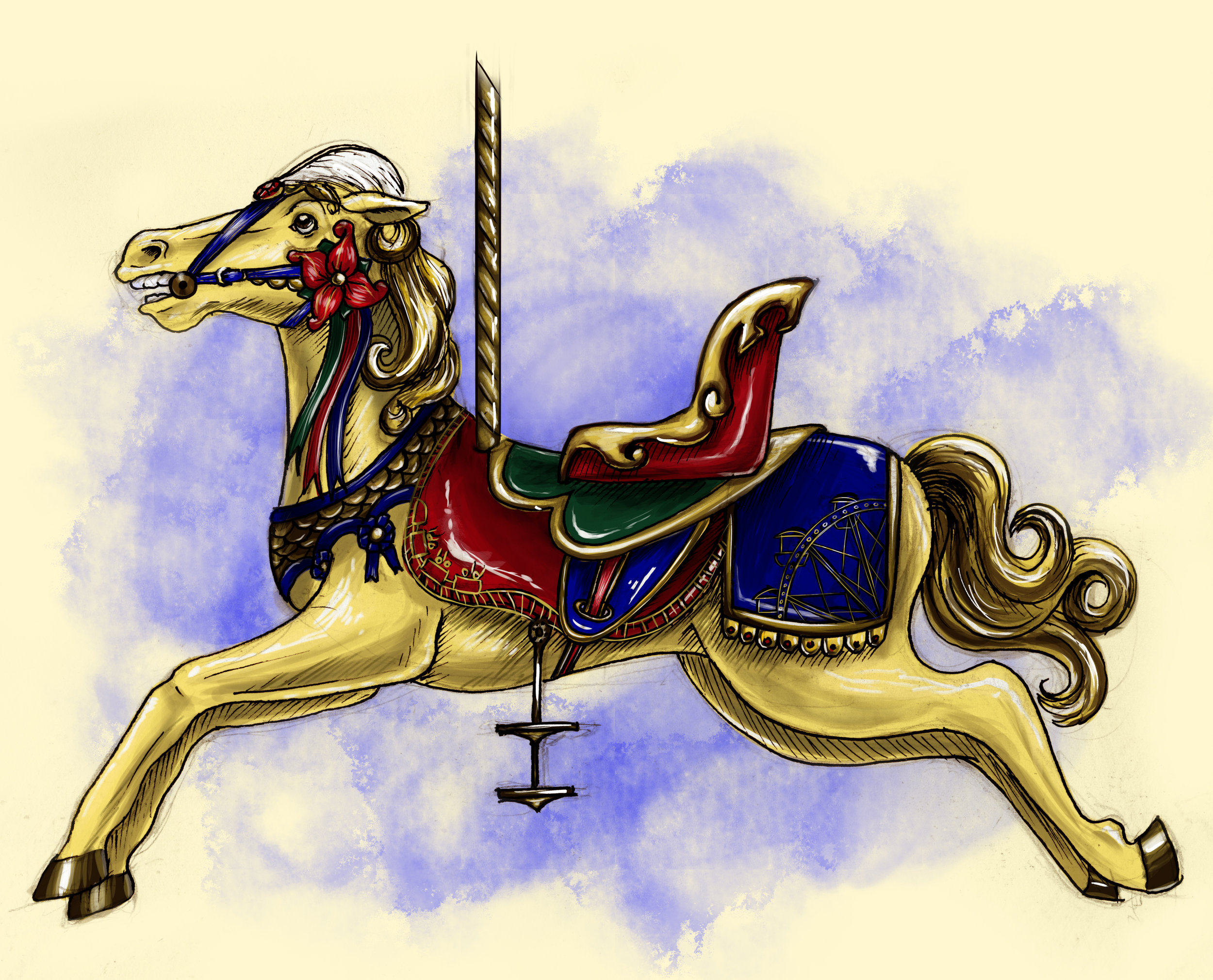 Ride of All Rides Carousel Horse, 2018.  Traditional Pen & Ink and Photoshop.