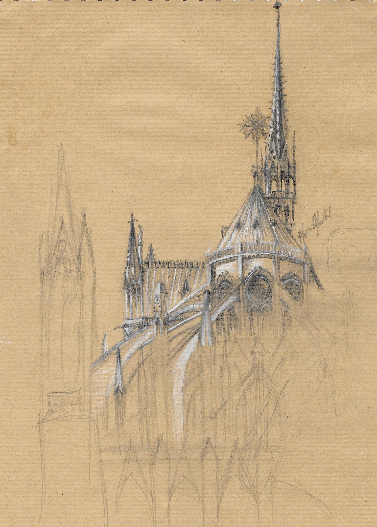 Notre-Dame de Paris, 2013. Graphite.