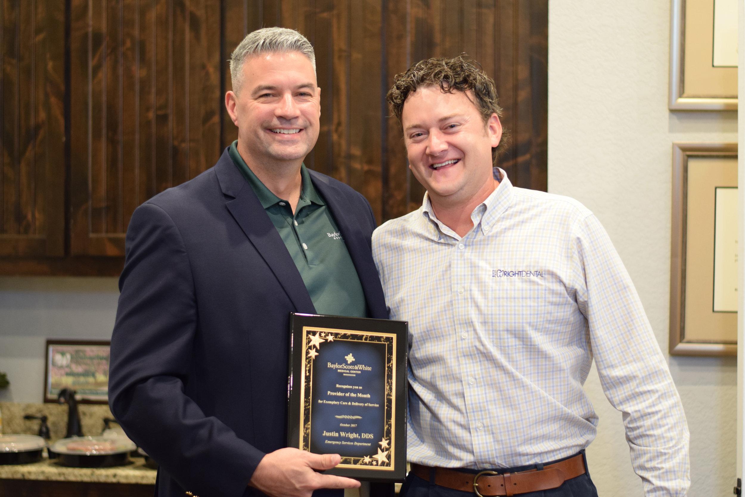 Dental Clinic Dr. Justin Wright Award Cosicana TX